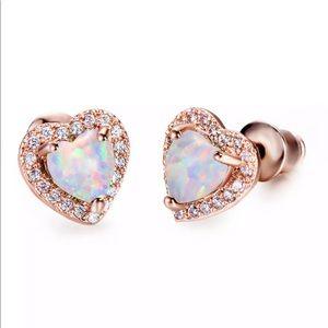 Heart Cut Fire Opal CZ Stud Rose Gold Earrings